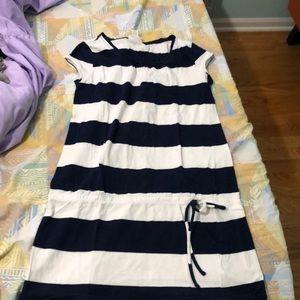 Navy Blue Striped Kids Long Top